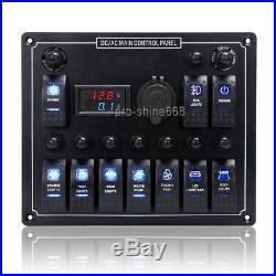 10 Gang LED Rocker Switch Panel Car Boat Marine Voltmeter 12V Cigarette Socket