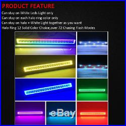 120W 22 LED Light Bar Multi-Color RGB Halo Chase +4x 3 Pods Halo for Jeep Ford
