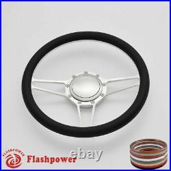 14'' Billet Steering Wheels Burgundy Half Wrap Custom chevy Ididit Flaming River