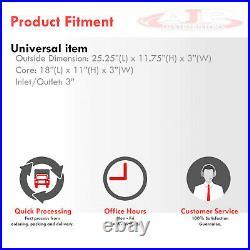 25 X 11.75 X 3 Universal Tube Fin Front Mount Turbo Intercooler Fmic Aluminum