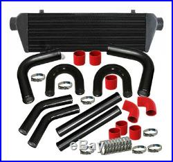 28 Turbo Jdm Intercooler+2.5 Aluminum Black Piping U-Pipe Kits With Red Couplers