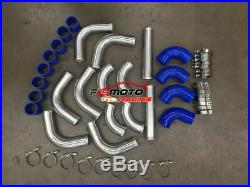 2 51mm Aluminum Universal Intercooler Turbo Piping + red hose + T-Clamps kits