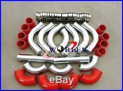 2.5 Aluminum Universal Intercooler Turbo Piping + 12pcs Red hose + T-Clamp kits