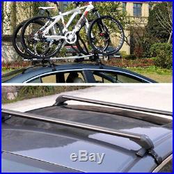 2×Heavy Duty Car SUV Roof Rail Luggage Rack Baggage Carrier Cross Aluminum Black