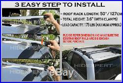 2 pc 50 inch Aluminum Roof Railing Cross Bar with Keys Locks Universal Fitment E14