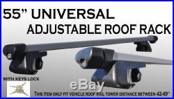 2pc 55 inch long Aluminum Roof Rack Cross Bars with Keys Locks Universal Fit Q26