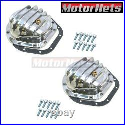 2x Polished Aluminum Differential Cover Dana 44 Jeep Wrangler IH Scout 4WD Ram