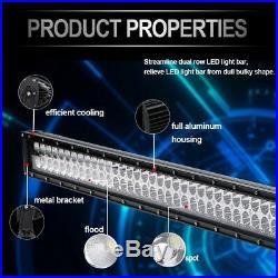300W 52 Led Light Bar Spot Flood+ 2x18W Pods For Toyota Ford Jeep SUV ATV 4WD
