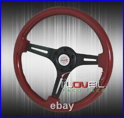 345mm 6-Hole Wood Grain Aluminum Steering Wheel + Slim Detachable Quick Release