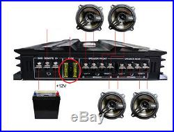 3800Watts 4Channel Powerful Car Audio Power Stereo Amplifier Connect to 4Speaker