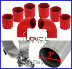 3 Diy Aluminum 8 Piece Turbo Intercooler Chrome Piping Kit Red Couplers Clamp