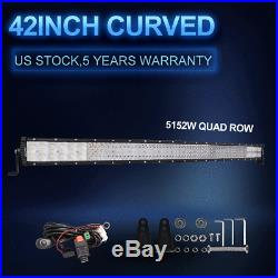 42Inch Curved 5152W CREE Quad-Row LED Work Light Bar Flood Spot Combo PK Tri Row