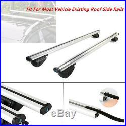 48 Cross Bar Top Luggage Roof Rack Cargo Rail Car SUV Aluminum Polished Silver