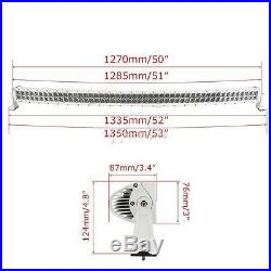 4D White 50Inch Curved 672W Led Light Bar Offroad 4WD Driving Truck Boat ATV 52