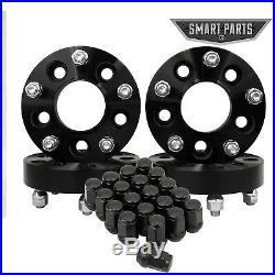 4 PC 1.5 Black Wheel Spacers 5x5 Hubcentric Studs 1/2x20 + 20 pc Black Lug Nuts