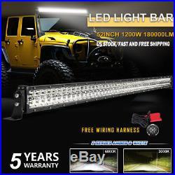 52 Inch Led Light Bar Spot Flood Work Combo Truck SUV Offroad VS Tri Row 50/54