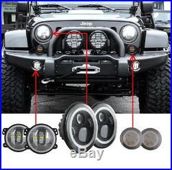 7inch LED Headlight Halo Angel Eye + 4 Fog Turn Light Kit For Jeep Wrangler JK