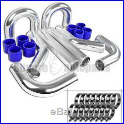 8PC 2.5 Chrome Aluminum Intercooler Piping Kit+Blue Silicone Hose+Clamp