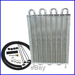 8Row Full Aluminum Remote Transmission Oil Cooler Kit Auto/MT Radiator Universal