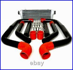 8 Pcs 2.5 Red Coupler Black Aluminum Piping Kit With 28 X 7 Fmic Intercooler
