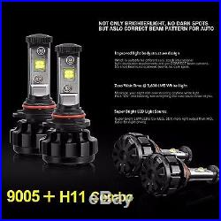 9005+H11 Cree LED Headlight Bulbs Replacement Kit High+Low Beams 120W 14400LM 6K