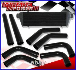 Aluminum Performance Intercooler + Pipe Piping Kit +Silicone Coupler Hoses Bk/Rd