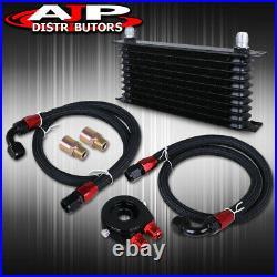 Auto Car Bike Truck Oil Cooler Aluminum An10 Blk+ Ss Hoses + Filter Relocate Kit