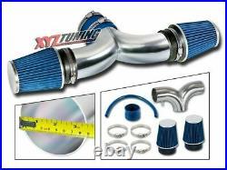BLUE 1999 2000 2001 Grand Cherokee 4.7 V8 Dual Twin Air Intake Kit + Filter 3.5