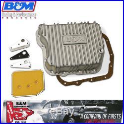 B&M 10280 Finned Brushed Cast Aluminum A727 518 48RE Deep Transmission Pan +4 Qt