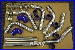 Blue/chrome Aluminum Turbo Intercooler Piping Kit 8pcs Turbocharger Supercharger