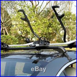 Car Roof Rail Luggage Rack Baggage Carrier Cross Aluminum Black withAntitheft Lock
