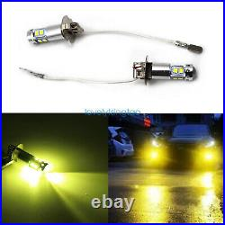 H3 CREE LED Fog Light Bulbs Conversion Kit Bright Canbus 3000K Yellow 55W