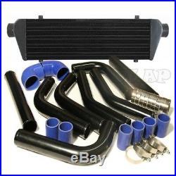 Jdm 28 Turbo Intercooler Blk+2.5 Aluminum Black Piping Pipe Kit Blue Couplers
