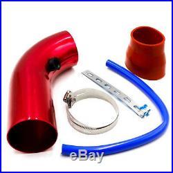 Red Air Intake Kit Pipe Diameter 3 Cold Air Intake Filter+ Clamp+ Accessories