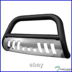 Topline For 2005-2007 Grand Cherokee Bull Bar Bumper Guard Matte Blk/Aluminum