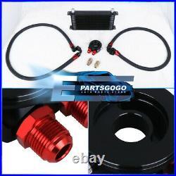 Turbo Super Charger N/A Engine Motor Aluminum Oil Cooler Adapter Kit Unit Black