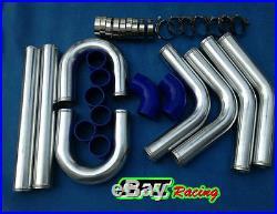 UNIVERSAL 2.5 63MM TURBO BOOST INTERCOOLER PIPE KIT Aluminum PIPING+BLACK HOSE