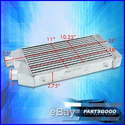 Universal 25 X 11 X 2.5 Aluminum Front Mount Intercooler System Tube Fin JDM