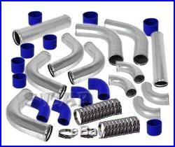 Universal 2.5 Aluminum 12 Pcs Turbo Intercooler Piping Pipe Kits Polished/Blue