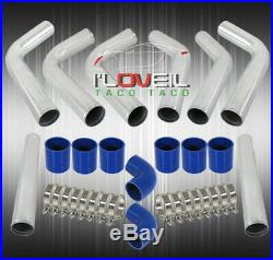 Universal Diy Custom 8 Piece Chrome Pipe Intercooler 3 Piping Kit Blue Couplers