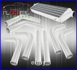 Universal Front Mount Intercooler 2.5 Turbo Polish Aluminum Pipes Piping Kit