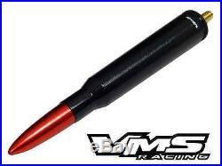 Vms Racing Jeep 50 Cal Caliber Bullet Aluminum Short Antenna Black Red