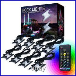 Xprite 8 Pod RGB LED Rock Lights Offroad Remote Wireless Underglow Lighting Set